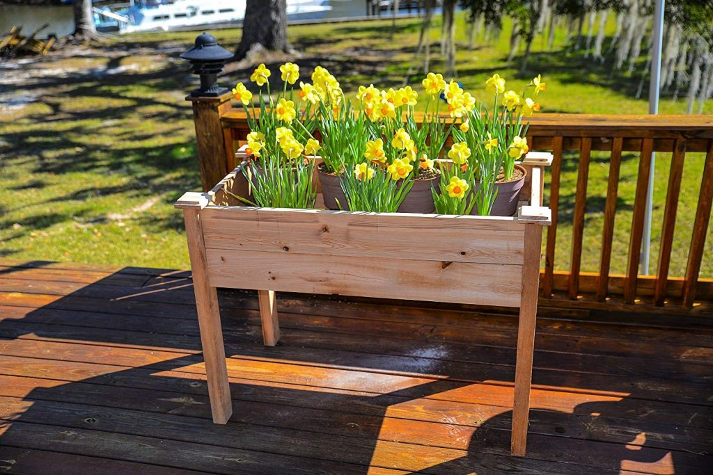 Rustic Elevated Pure Cypress Raised Garden Bed