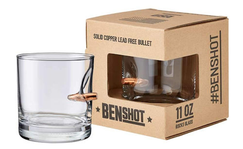 SET of TWO BULLET ROCKS GLASSES WITH REAL 0.308 BULLET