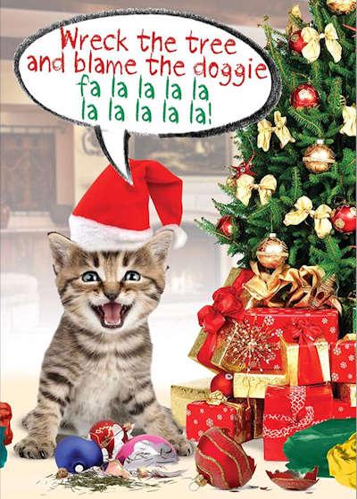 Naughty Kitty Christmas Cards